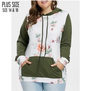 Tops - Plus Size Green/White Floral Contrast Hoodie